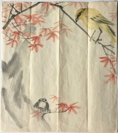 Bird and Frog on Maple Branches