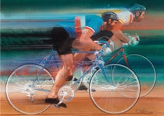 Cycling. Two men  Sports Racing on Bicycles
