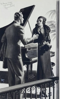 Art Deco Coulple Magazine Story Illustration, RedBook  The Saturday Evening Post