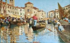 Chioggia - Venice - Impressionist Oil, Figures in Canal Landscape - Alfred Smith