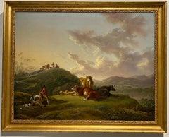A herdsmen resting in a pastoral landscape, with cattle resting