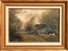 Pastoral Landscape with Sheep, Oil Painting by John Parker Davis