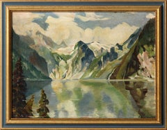 Mountain Lake, Landscape Oil Painting by J. Rieser 1935
