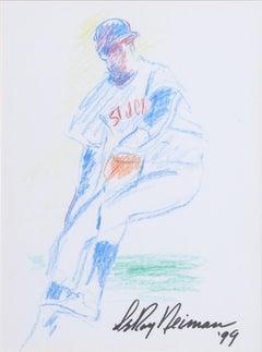 St. Johns Baseball Pitcher, Drawing by LeRoy Neiman