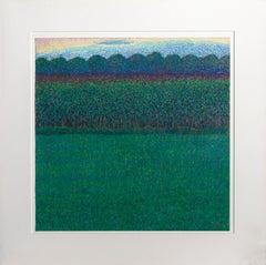 Dark Green Field, Pastel Landscape