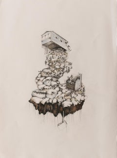 """""""Single-Wide in Two Parts with Septic Tank"""", Susan Greer Emmerson, drawing, home"""