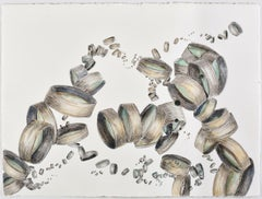 """Brainstorm"", Sarah Alexander, contemporary, watercolor, drawing, green, gray"