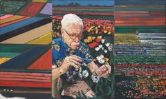 """The Tulip Painters"", Mia Cross, oil, acrylic, man, field, geometric, triptych"