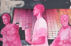 """In Line at the Paint Store"", Mia Cross, oil, acrylic, bright pink, woman, man"