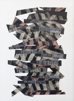 """""""Collapse"""", Susan Greer Emmerson, collage, black, white, brown"""