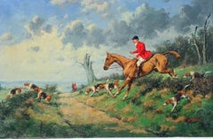 19th Century English style Fox Hunting with horses scene