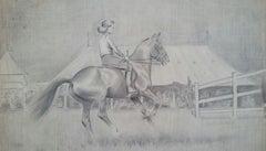 20th Century English 1930s Equestrian Sporting Art Lady on Horseback