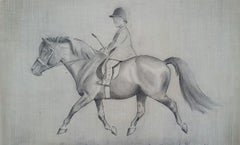 English 1930s Equestrian Child Riding on Horseback Sporting Art