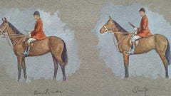 1930s Sporting Art Painting Equestrian Hunting Men and Horses