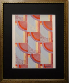 Abstract composition -Studio for upholstery,fabric ,1925 ,Deco,Red  cm. 28 x 35