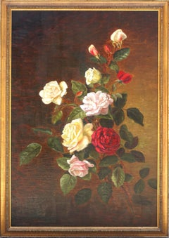 Antique Floral Tea Roses Study by Mary Emma Bailey