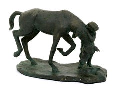 A Girl and Her Horse - Bronze Sculpture - Edition of Six
