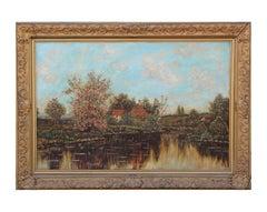 Impressionist Pastoral Lake Landscape Painting