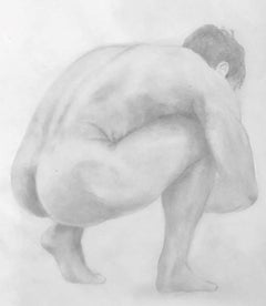 The Body is a Shelter - Muscular Male Nude, Graphite Drawing on Paper
