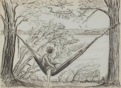 """Girl in Hammock - Big Cedar Lake"" original graphite drawing by Sylvia Spicuzza"