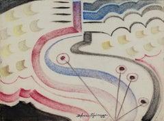 """Art Deco Landscape"" original pastel drawing by Sylvia Spicuzza"
