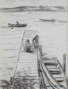 """Summertime Fun at Big Cedar Lake"" original charcoal drawing by Sylvia Spicuzza"