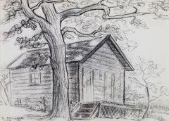 """Old Cabin Near Big Cedar Lake"" original charcoal drawing by Sylvia Spicuzza"