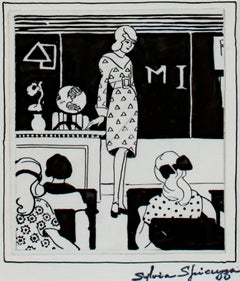 """""""Teacher (The Echo, Milwaukee Normal)"""" original ink drawing by Sylvia Spicuzza"""