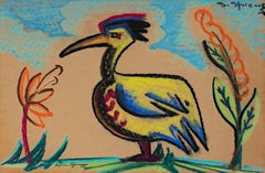 """""""Long Beaked Bird"""" original signed pastel drawing by Sylvia Spicuzza"""