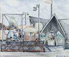 """""""Trampoline-WI State Fair Park"""" original signed drawing by Sylvia Spicuzza"""