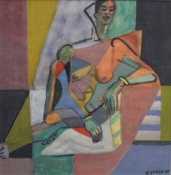 Cubist Nude Portrait of Seated Woman II