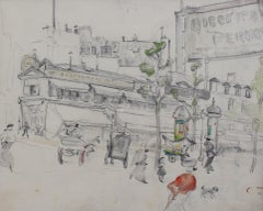 Set of Two Historical Pencil Drawings of Early 20th Century Paris