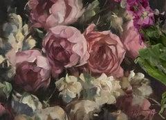 Trevor Waugh, Studio Roses, Original Oil Painting, Still Life Painting, Original