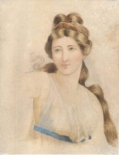 Smiling Woman - Pencil and Watercolor Drawing on Paper - 18th century