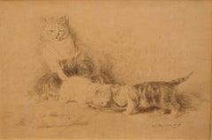 Three Little Cats - Original China Ink Drawing by L.-E- Lambert - 1890 ca.