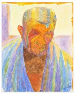 Visage d'Homme - Watercolor on Paper by L. Bellon - Mid 20th Century