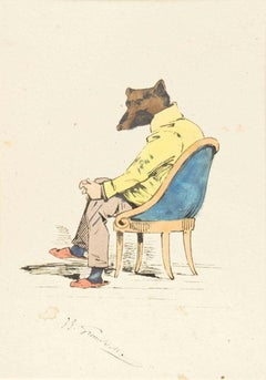 The Intellectual - Original Ink Drawing and Watercolor by J.J. Grandville