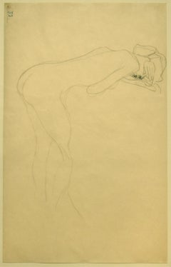 Nude of Woman Reclined on the Back of a Chair on the Right, Original Drawing