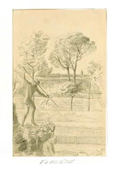 Boboli Gardens - Original Pencil Drawing by Anonymous Artist - 1889