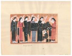 Greek Funeral  - Original Tempera by A. Matheos