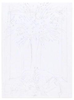 Bocca della Verità - Original Pencil Drawing by E. Berman - Mid 20th Century