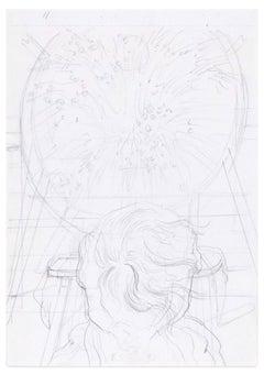 Magic Circle - Original Pencil Drawing by E. Berman - Mid 20th Century