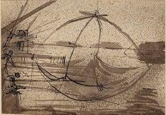 The Fishing - Original China Ink Drawing by E. Berman - 1938