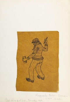 Standing Worker  - Original China Ink Drawing on Paper - 1969
