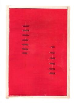 Seams on Red - Original Acrylic Painting by Mario Bigetti - 2019