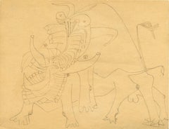 Untitled - Important and Original Drawing by Wifredo Lam - Ink and Pencil - 1941