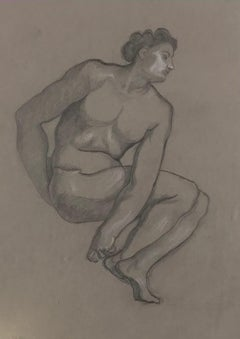 Male Nude - Original Pencil and White Lead on Paper by L. Russolo - 1920s