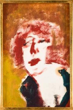 Portrait of Woman - Original Tempera by by M. Maccari - 1970s