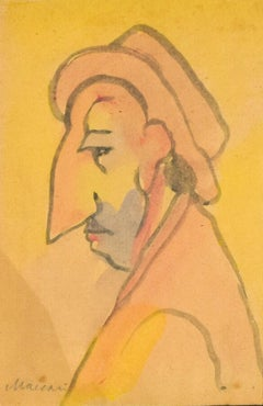 Portrait of a Man with Big Nose - Original Watercolor by M. Maccari - 1960s