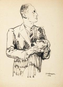 La Masque - Original Pen Drawing by Yves Brayer - 1943